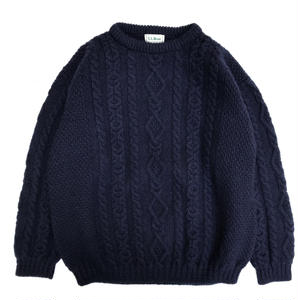 Made in Ireland  / L.L.Bean / Fisherman Wool Sweater / Navy / Used