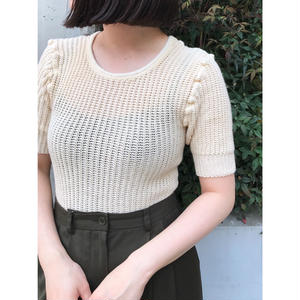 British Army / Dead Stock Cotton Knit / Natural  × Yellow Stitch