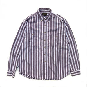 80s Eddie Bauer / L/S B.D. Stripe Shirt / Lt.Purple / Used