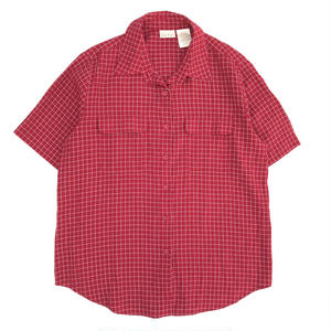Used S/S  Rayon Check Shirt / Red