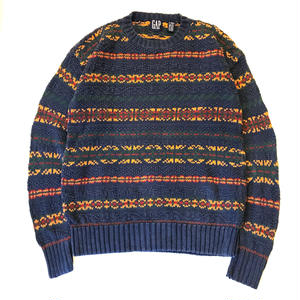 90s GAP / Cotton Knit / Navy / Used