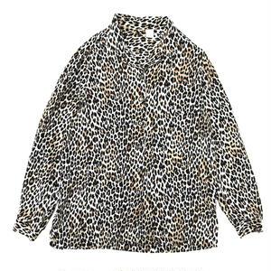 For Ladies / Used Silk Open Collar Shirt / Leopard