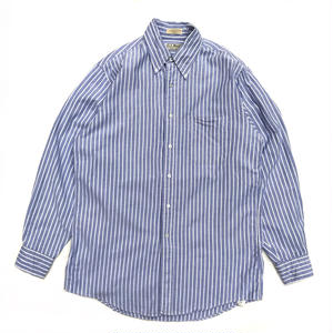 Made in USA / L.L.Bean / L/S Stripe Shirt /  White × Blue  / Used