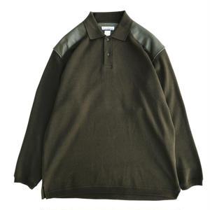 Used  L/S Cotton & Leather  Polo Shirts / Olive