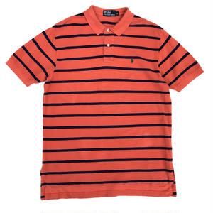 Polo Ralph Lauren / H/S Border Polo Shirt / Orange ×Navy / Used