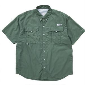 Old Columbia / Rip Stop Fishing H/S Shirts /Green tea