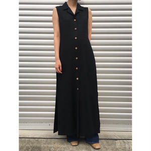 For Ladies /  Open Collar Rayon Maxi Dress  / Black /  Used