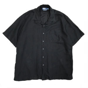 Polo Ralph Lauren / Open Collar Linen Shirt / Black / Used