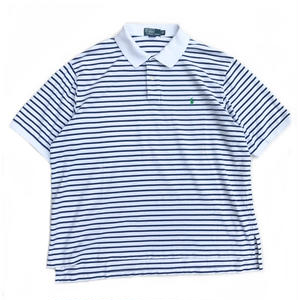 Polo Ralph Lauren / S/S Border Polo Shirt / White ×Navy / Used