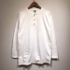 Made in USA / 90s Dead Stock / Henley Neck L/S Tee / White