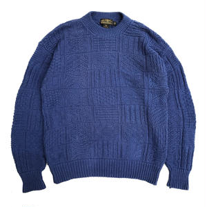 Made in USA / 80s Eddie Bauer / Cotton Knit / Blue / Used