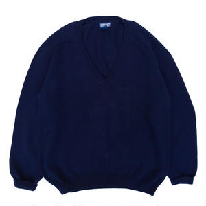 Made in USA / 90's  LANDS' END / V neck Knit / Navy / Used