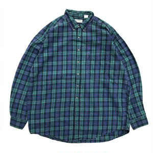Made in USA / L.L.Bean / L/S B.D.Check Shirt /  Green  / Used
