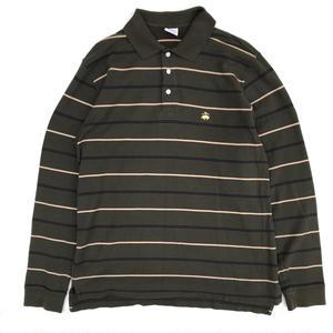 Old Brooks Brothers / L/S Border Polo Shirt / Khaki×Navy×Yellow