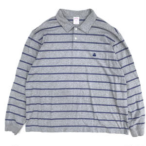 Old Brooks Brothers / L/S Border Polo Shirt / Gray×Blue