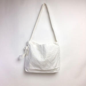 Linen Shoulder Tote  ( White×Ivory )