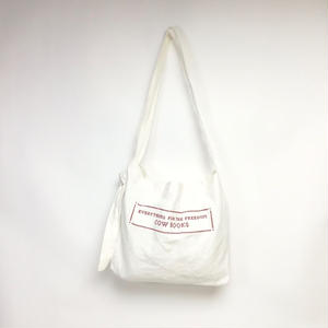 Linen Shoulder Tote   ( White×Red )