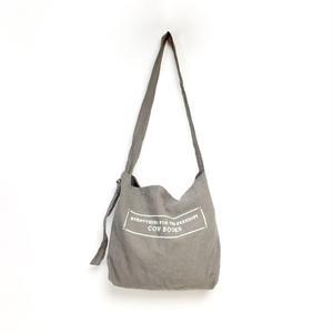 Linen Shoulder Tote  (Gray×Ivory)