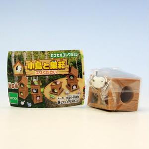 小鳥ホワイト+巣箱B  (小鳥と巣箱 エサください。 カプセルコレクション フィギュア ガチャ エポック社)