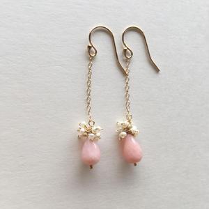 【14kgf】【10月誕生石】ピンクオパールの揺れるピアス 【October birthstone】 Pink Opal swing  earrings