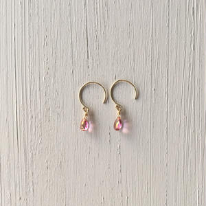 【14kgf】【11月誕生石】小さなピンクトパーズのピアス【November birthstone】small Pink Topaz earrings