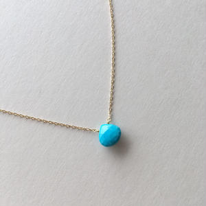【K18】【12月誕生石】スリーピングビューティーターコイズの一粒ネックレス【December birthstone】Sleeping beauty turquoise necklace