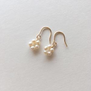 【14kgf】【6月誕生石】淡水パールのプチフラワーピアス【June birthstone】Flower Pearl earrings  のコピー
