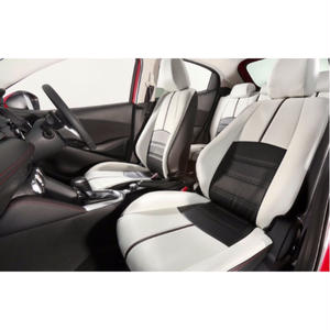 "Premium Fit Sheet Cover for MAZDA DEMIO ""Black&White Leather × Red Stitch"""