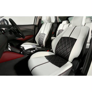 "Premium Fit Sheet Cover for MAZDA CX-3 ""Black&White Leather × Red Stitch"""