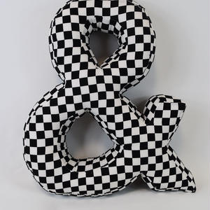 "LETTERS CUSHION BLACK&WHITE CHECKER ""&"""