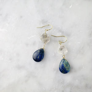 Double Terminated Quartz × Lapis lazuli Hook Pireced earrings【14kgf】
