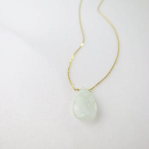 Pear shaped Green Quartz Necklace【14kgf】