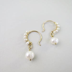 Freshwater pearl  Hook Pireced earrings【14kgf】