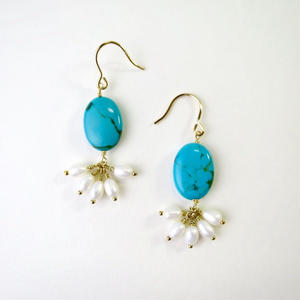 Turquoise×Freshwater pearl Pireced earrings【14kgf】