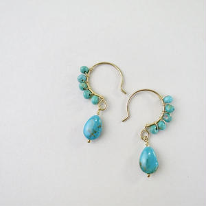 Turquoise×Turquoise Beads  Hook Pireced earrings【14kgf】
