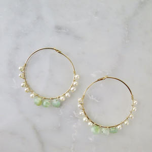 Blue Opal×Freshwater pearl Hoop earrings【14kgf】