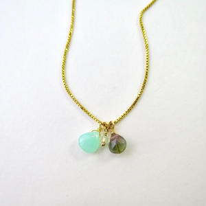 Chrysoprase×Tourmaline×Lemon Quartz Necklace【14kgf】