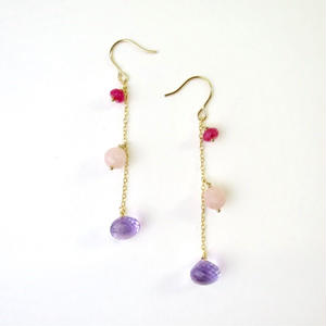 Amethyst×Jade×Quartz Pireced earrings【14kgf】