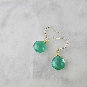 Green Onyx Hook Pireced earring【14kgf 】