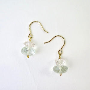 Green  Amethyst×Herkimer diamond Pireced earrings【14kgf】