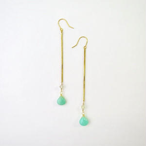 Chrysoprase×Lemon Quartz Pireced earrings【14kgf】