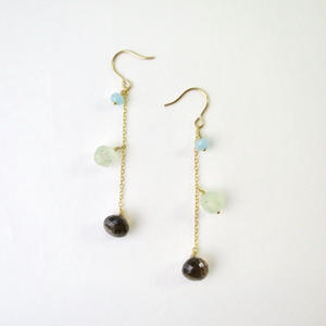 Smoky quartz×Prehnite×Quartz Pireced earrings【14kgf】
