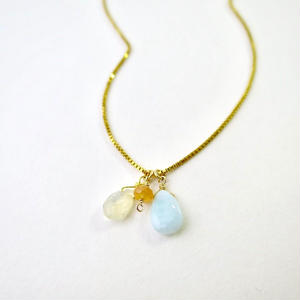 Fire Opal×Larimar×Spessartite Garnet Necklace【14kgf】