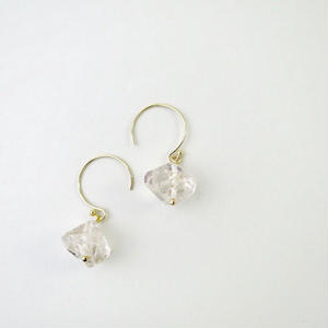 Herkimer diamond Hook Pireced earrings【14kgf】