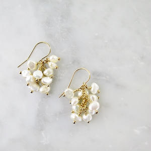 Freshwater pearl Fringe Pireced earrings【14kgf 】
