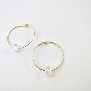 Herkimer diamond Hoop Pireced earrings【14kgf】