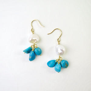 Freshwater pearl×Turquoise Pierced earrings【14kgf】