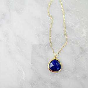Lapis lazuli Drop Necklace【14kgf】