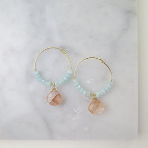 Copper Rutilelated Quartz×Quartz Hoop earrings【14kgf】