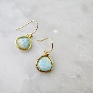 Amazonite Drop Pierced earrings【14kgf】